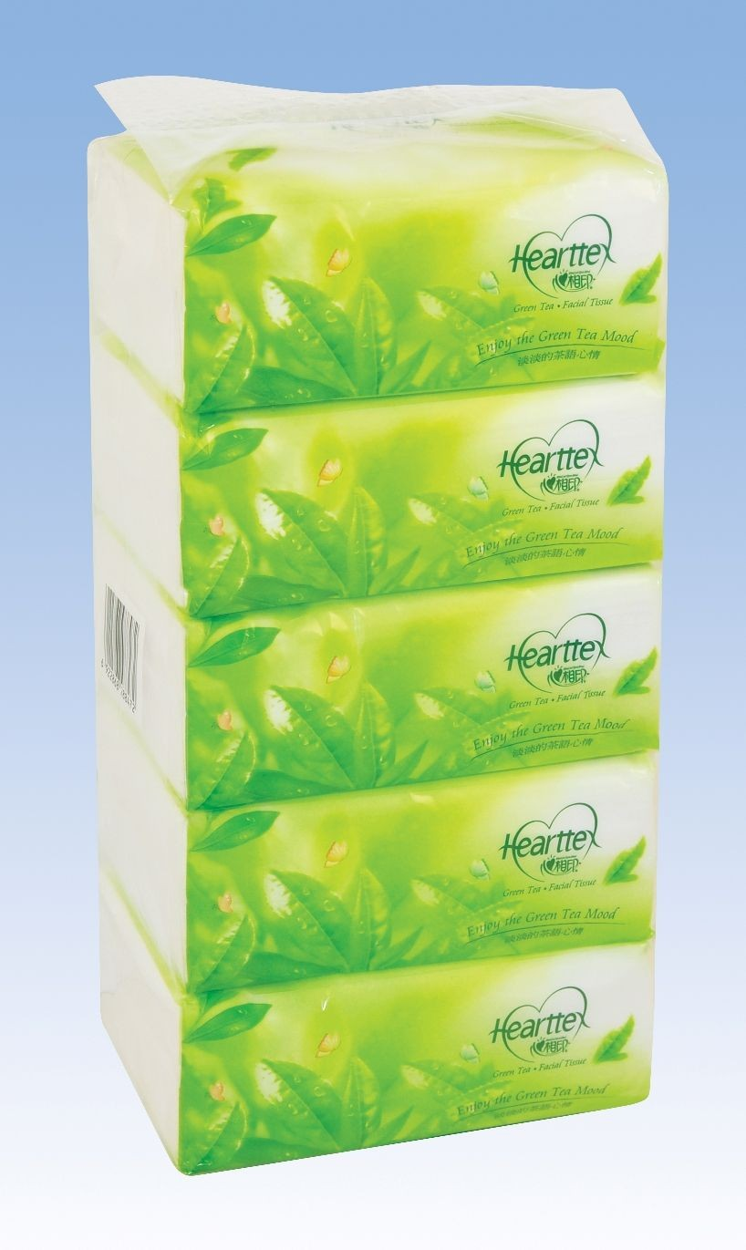 Hearttex Green tea Soft-bag Facial Tissue 2-ply (150 sheets/bag)