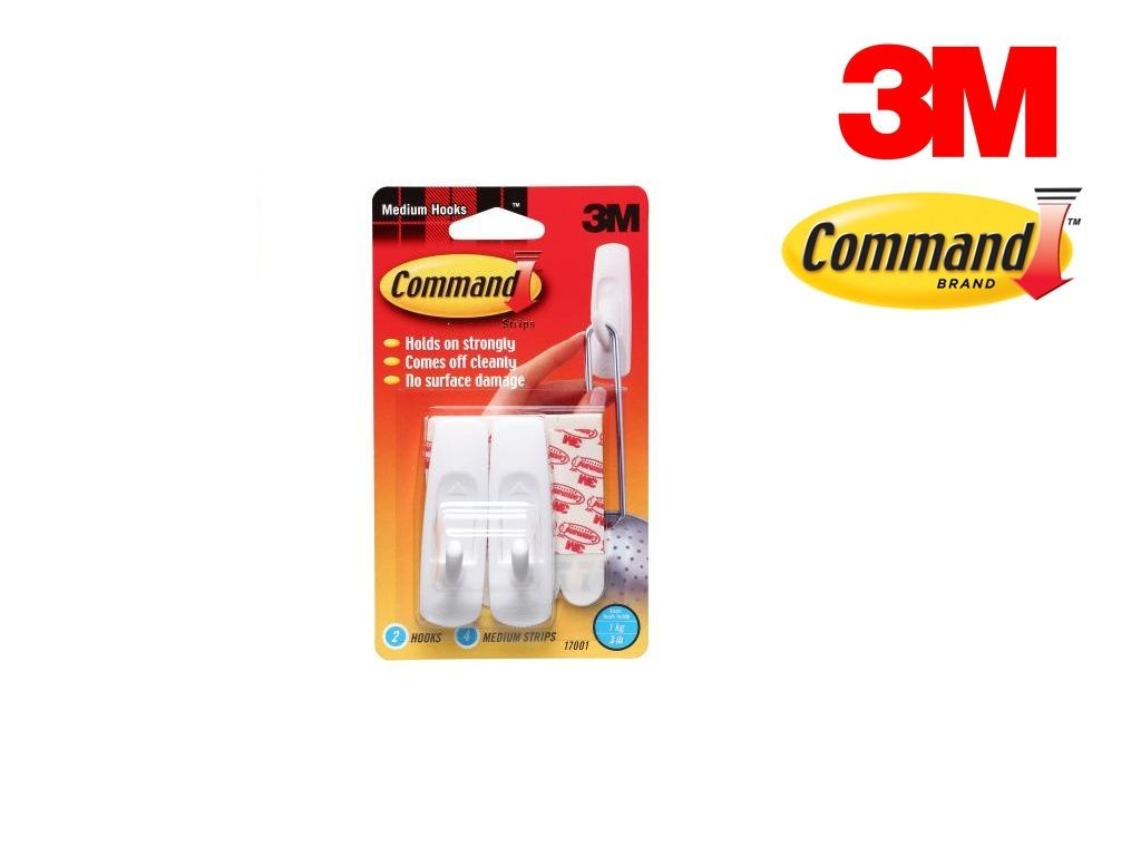 3M - 17001 - Hook w/ Command Adhesive 3lb 2s