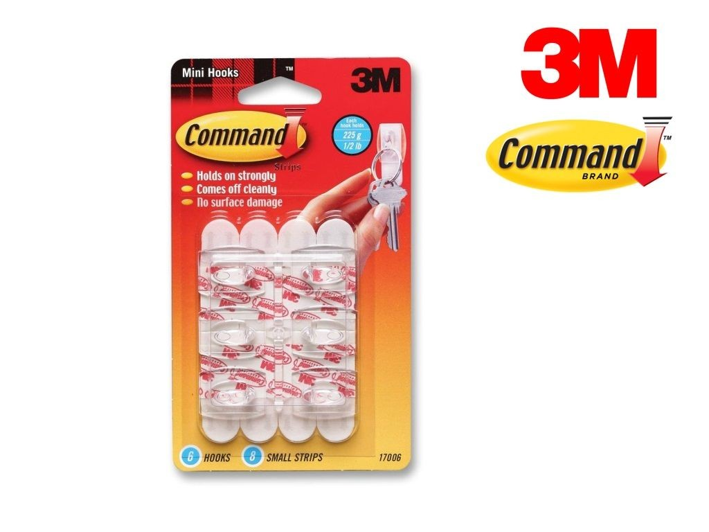 3M - 17006 - Mini Hooks with Command? Adhesive  0.5lb 6s