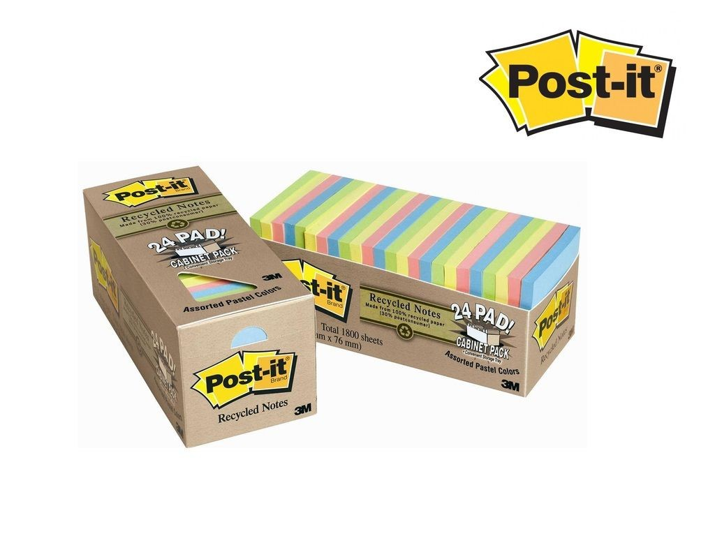 3M - 654R-24CP-AP - Recycled Post-it Notes EcoPad 3inx3in 24pad <Pastel>