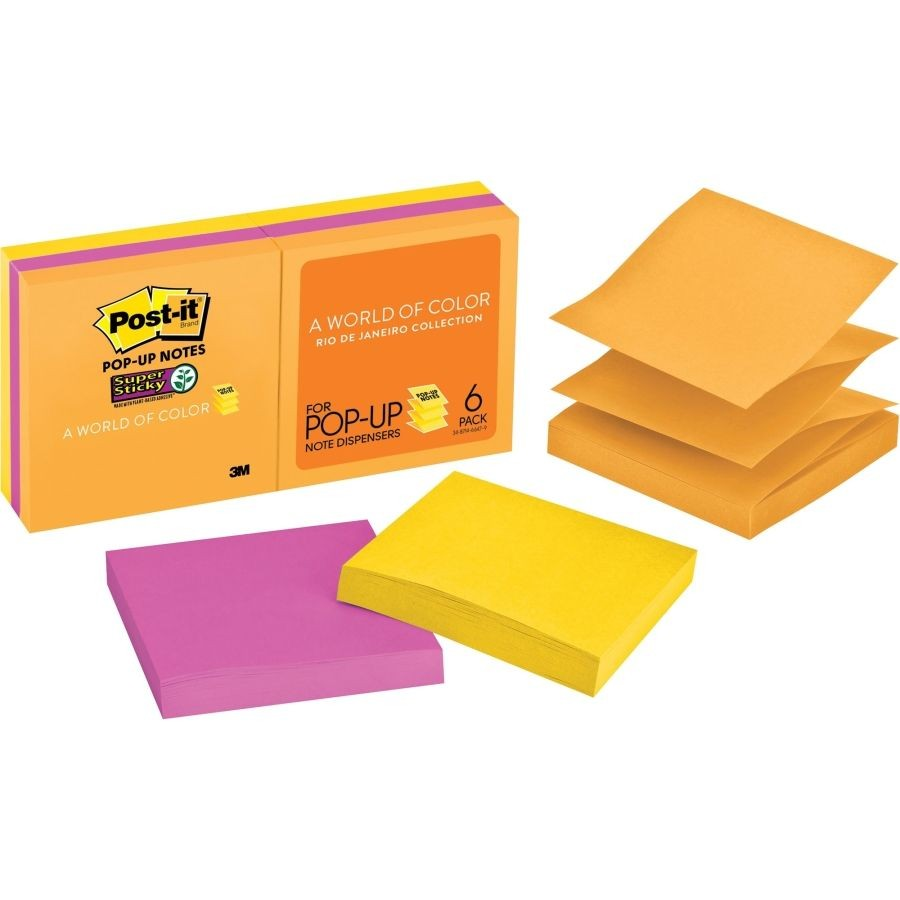 3M - R330-6SSUC - Super Sticky Pop Up Post-It Note 3inx3in 6pad