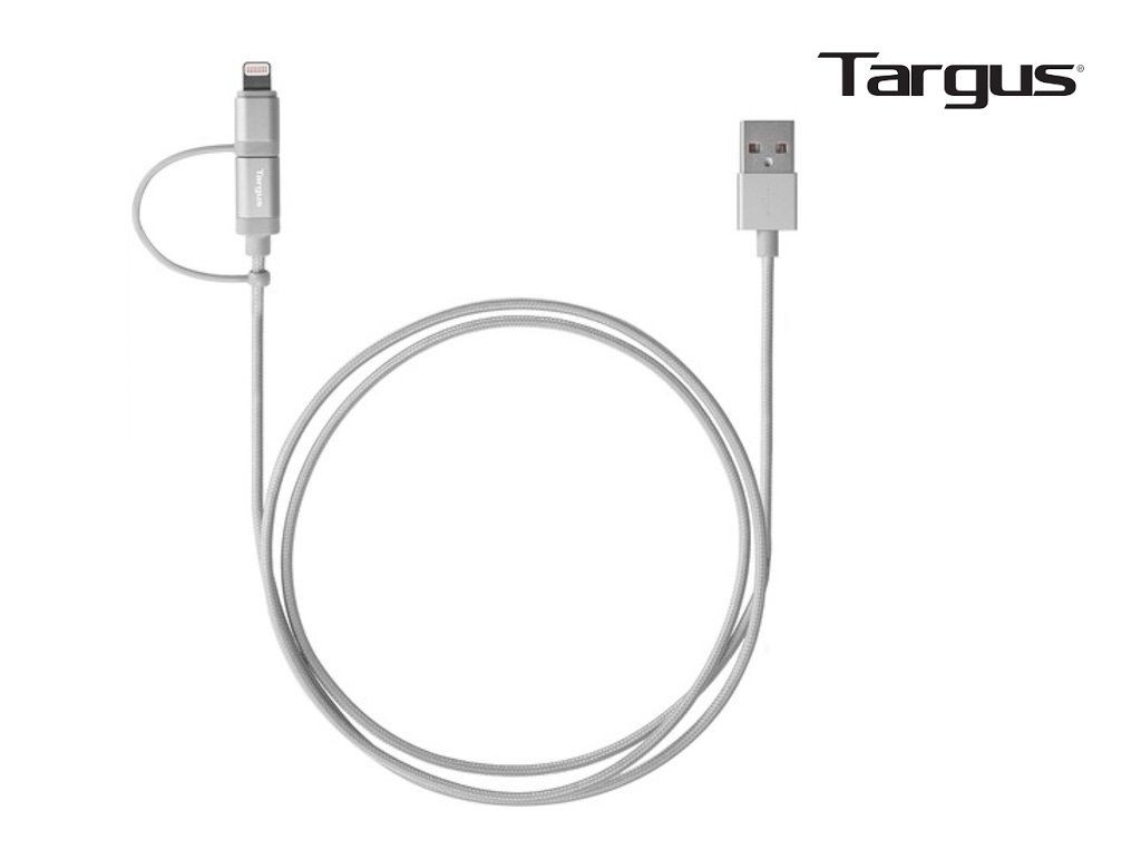 Targus - ACC99505AP - Aluminium Series 2-IN-1 cable with MFI Lightning & Micro USB