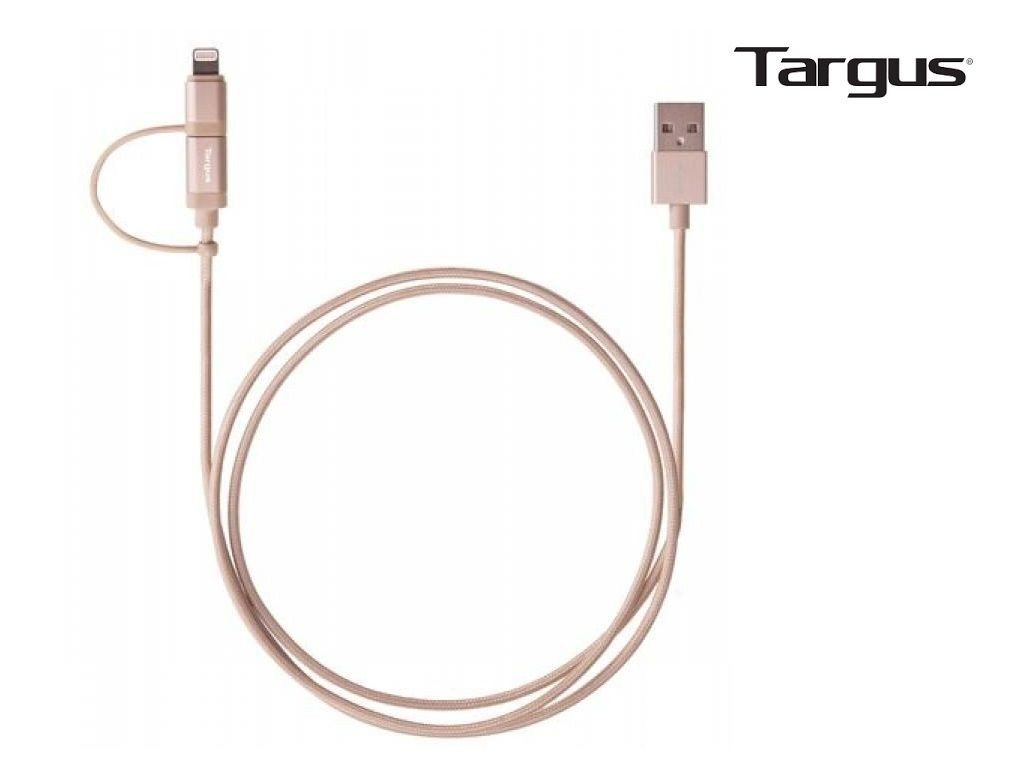 Targus - ACC995AP - Aluminium Series 2-IN-1 cable with MFI Lightning & Micro USB <Gold>