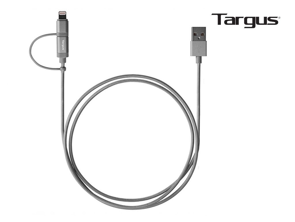 Targus - ACC995AP - Aluminium Series 2-IN-1 cable with MFI Lightning & Micro USB