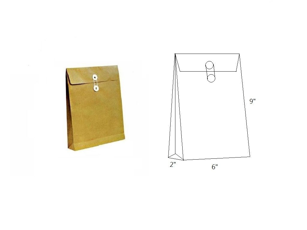 Brown Envelope with String 6x9x2in