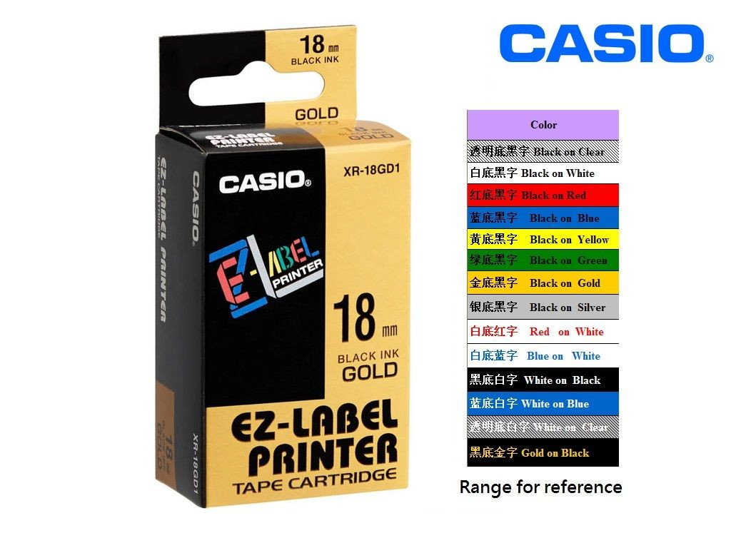 Casio - XR-18GD1 - 18mm Labelling Tape <Black on Gold>