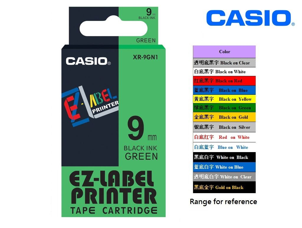 Casio - XR-9GN1 - 9mm Labelling Tape