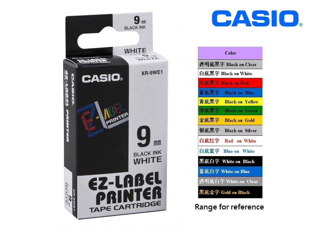 Casio - XR-9WE1 - 9mm Labelling Tape