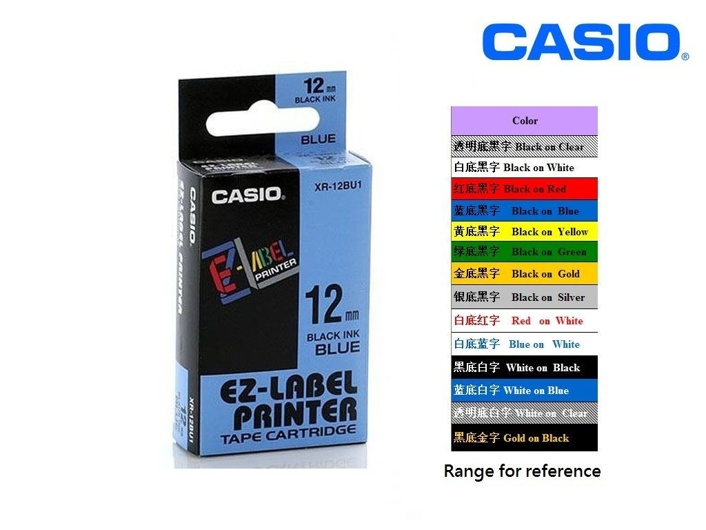 Casio - XR-12BU1 - 12mm Labelling Tape