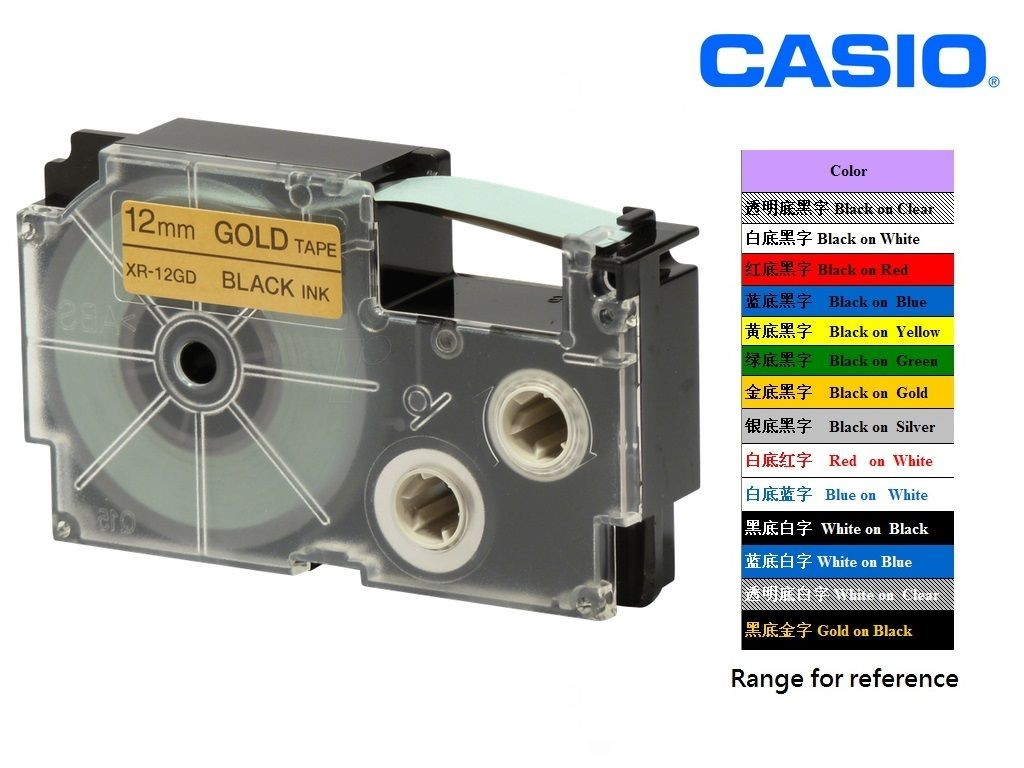 Casio - XR-12GD1 - 12mm Labelling Tape