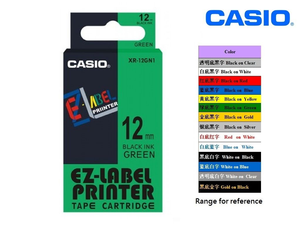 Casio - XR-12GN1 - 12mm Labelling Tape