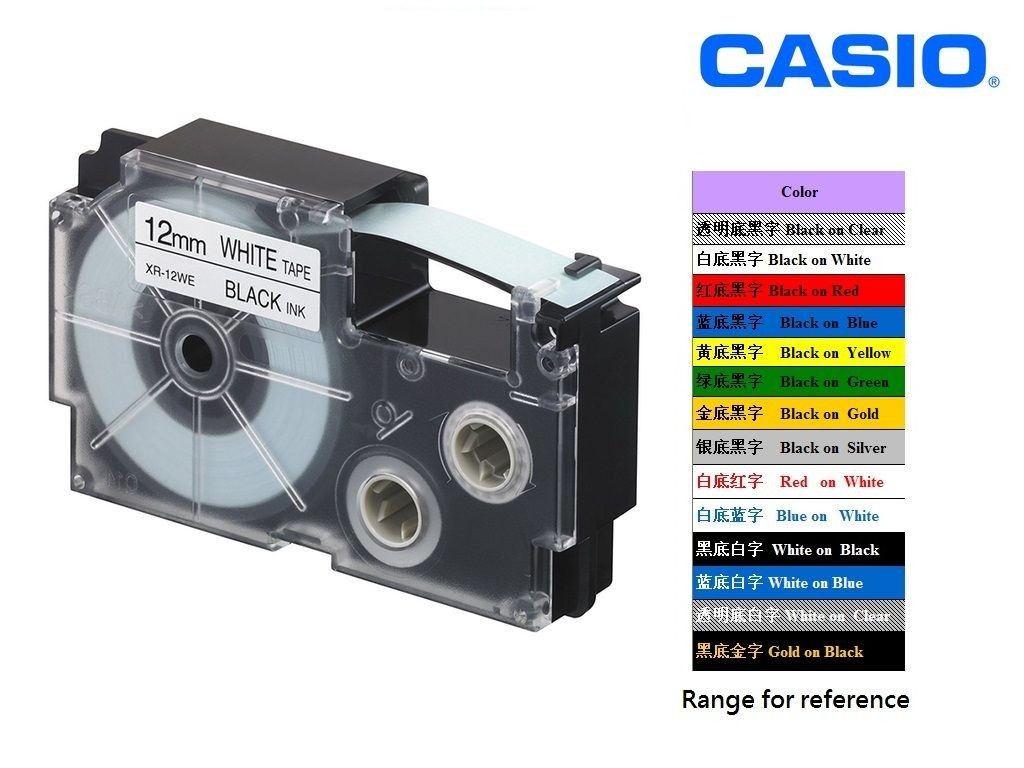 Casio - XR-12WE1 - 12mm Labelling Tape