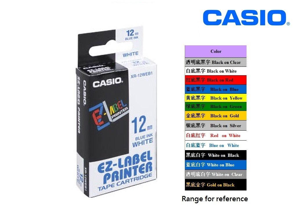 Casio - XR-12WEB1 - 12mm Labelling Tape