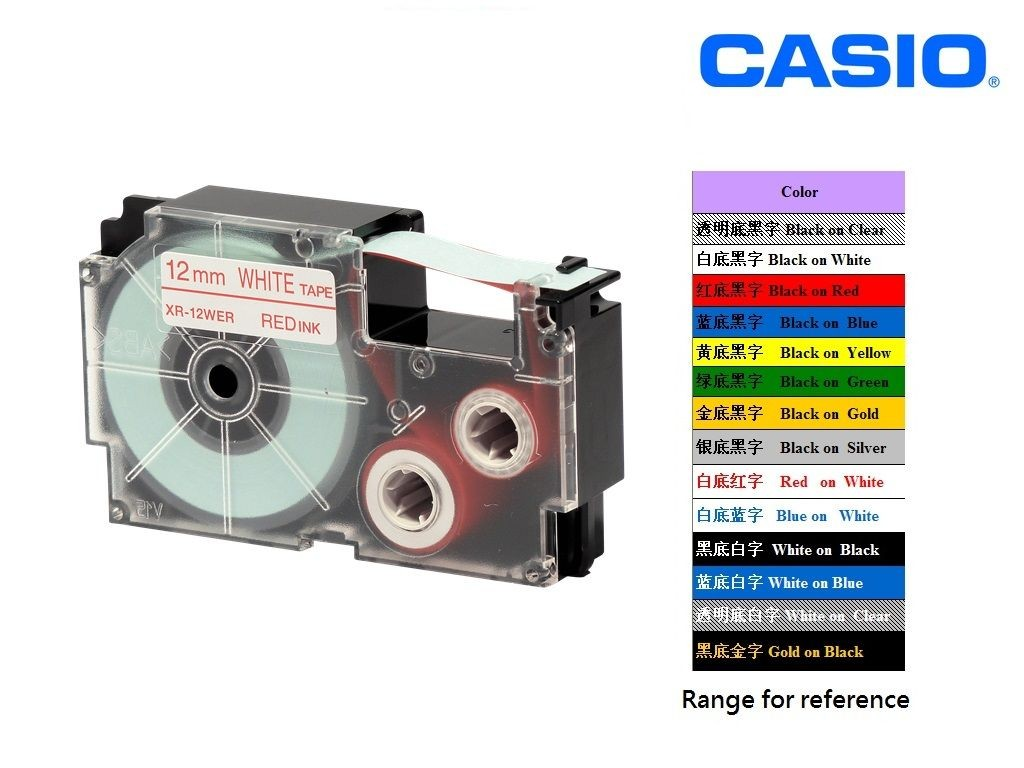 Casio - XR-12WER1 - 12mm Labelling Tape