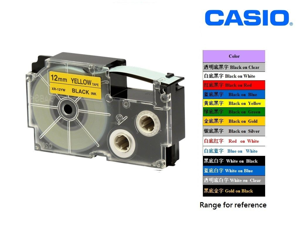 Casio - XR-12YW1 - 12mm Labelling Tape