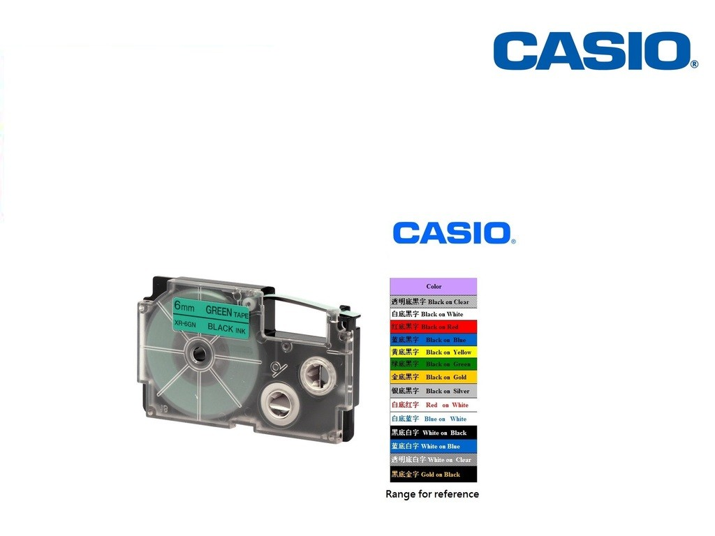 Casio - XR-6GN1 - 6mm Labelling Tape <Black on Green>