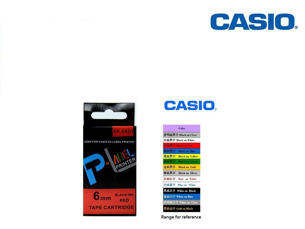 Casio - XR-6RD1 - 6mm Labelling Tape