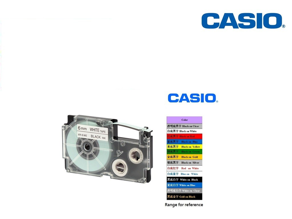 Casio - XR-6WE1 - 6mm Labelling Tape