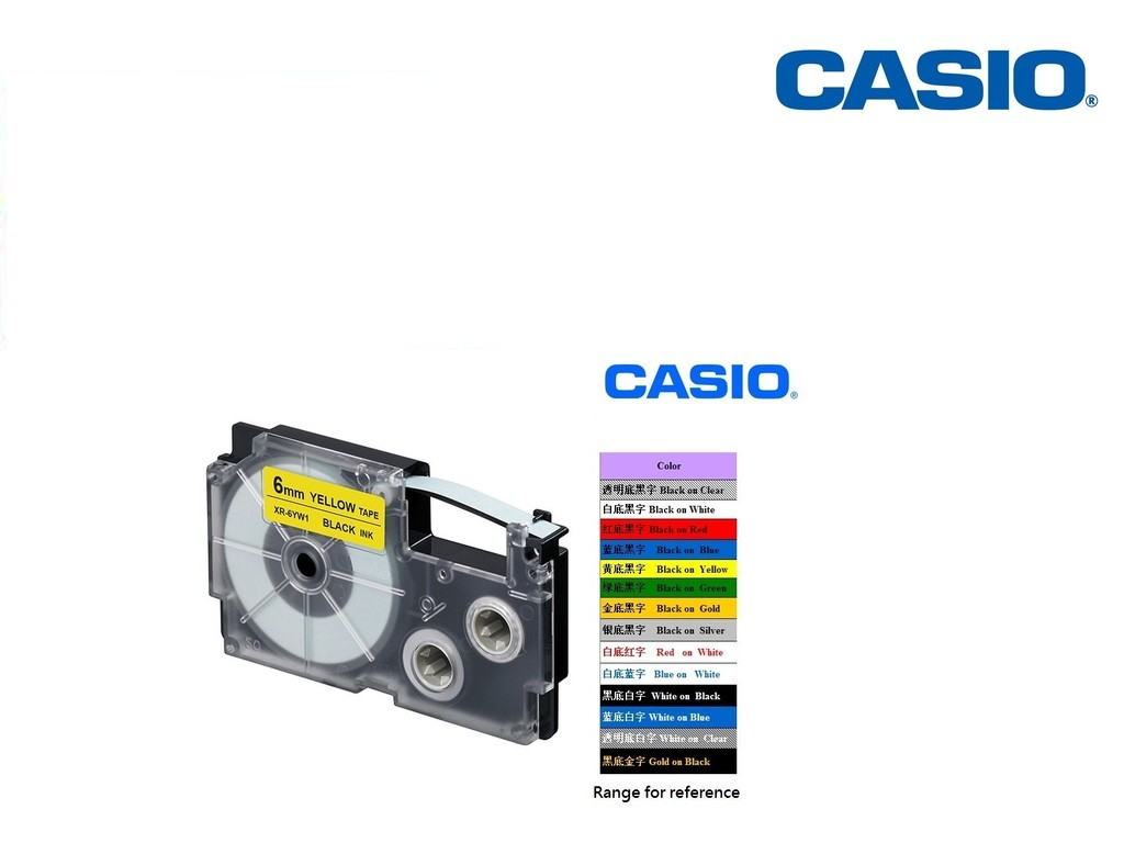 Casio - XR-6YW1 - 6mm Labelling Tape
