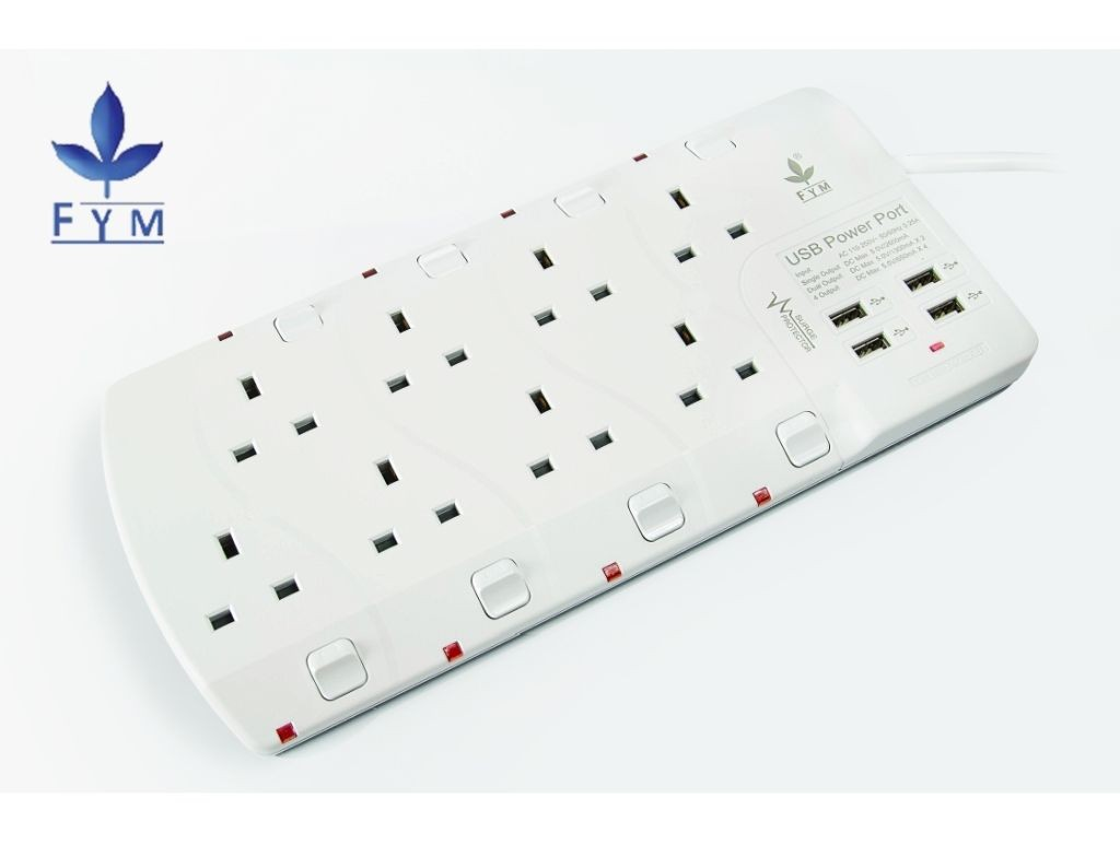 FYM - S908USBH - 8x13A Extension Socket Outlet with 4xUSB Charger