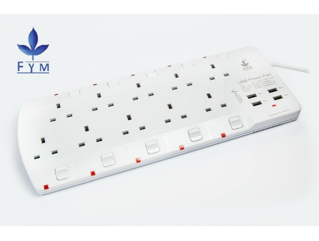 FYM - S910USBH - 10x13A Extension Socket Outlet with 4xUSB Charger
