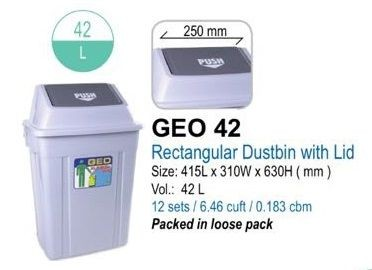 (#)GEO - 42 - Rubbish Bin With Cover 42L