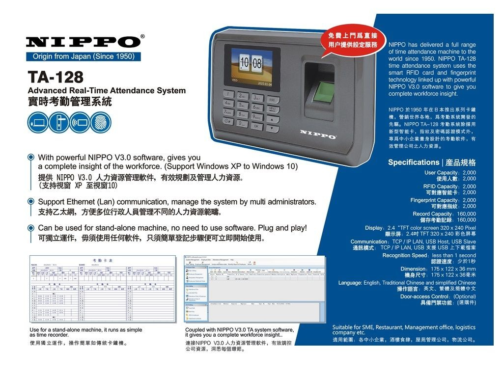 Nippo - TA128 - Advanced Real-Time Attendance System