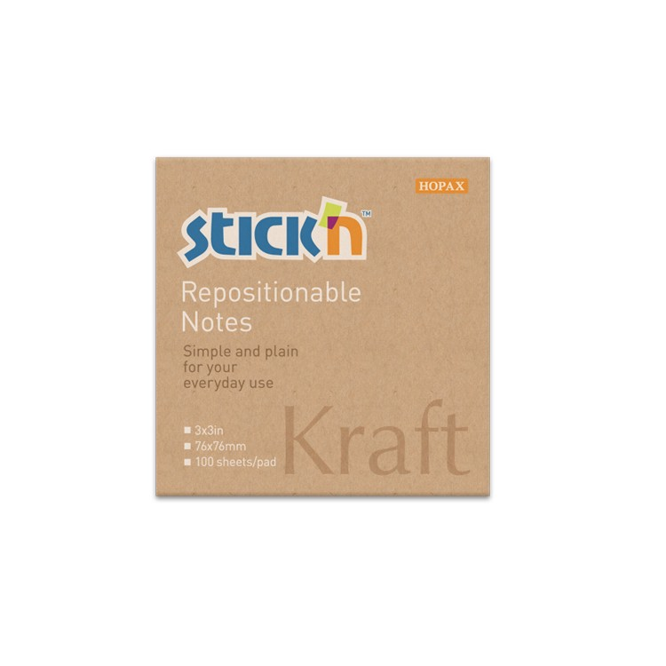 StickN - 21639 - Stick Note 3inx3in <Kraft>