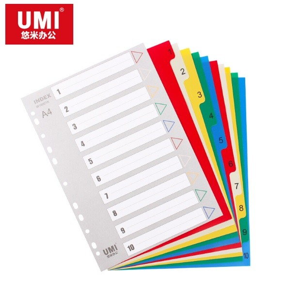 Umi - W16001X - Color PP Index Divider A4 10-Tab