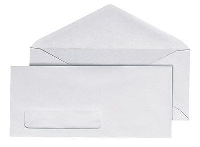 616 White Envelope with Window 4x9in  Horizontal